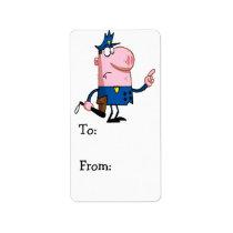 funny pig cartoon cop label