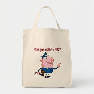 funny pig cartoon cop policeman canvas bag