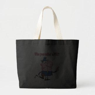 funny pig cartoon cop policeman tote bags