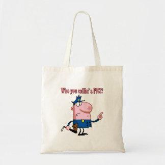 funny pig cartoon cop policeman canvas bags