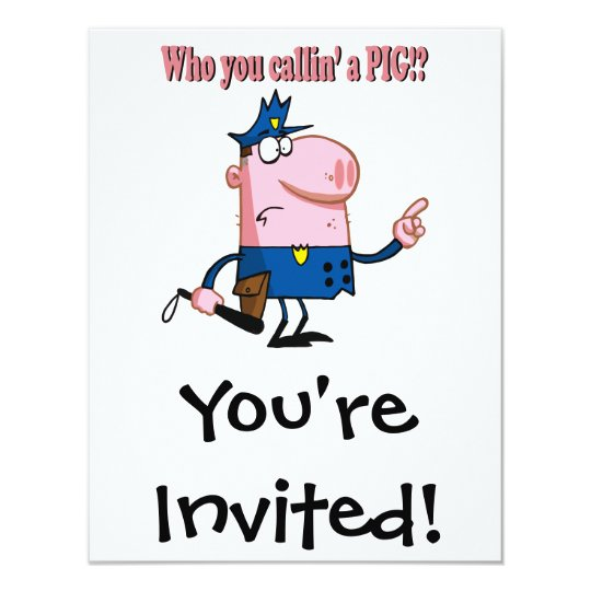 funny pig cartoon cop policeman card