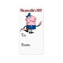 funny pig cartoon cop policeman label