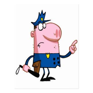 funny pig cartoon cop postcard