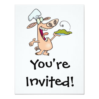 funny pig chef with pig slop dish cartoon invite