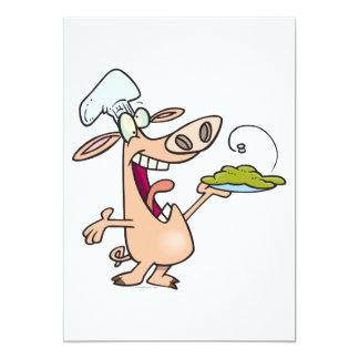 funny pig chef with pig slop dish cartoon announcement