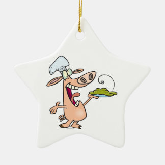 funny pig chef with pig slop dish cartoon christmas tree ornament