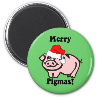 Funny pig Christmas 2 Inch Round Magnet