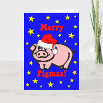 Funny pig Christmas Holiday Card
