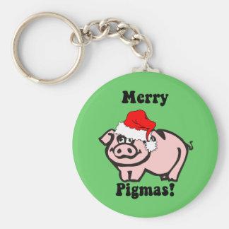 Funny pig Christmas Keychain