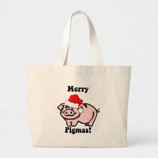 Funny pig Christmas Large Tote Bag