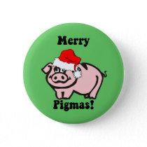 Funny pig Christmas Pinback Button