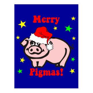 Funny pig Christmas Postcard