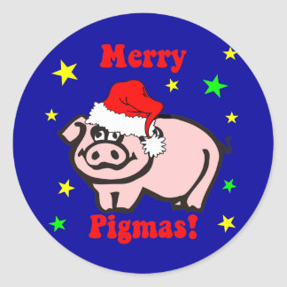 Funny pig Christmas Round Stickers