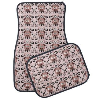 Funny Pig Damask Pattern Car Floor Mat