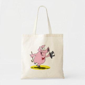 funny pig dancer dancing performer cartoon budget tote bag