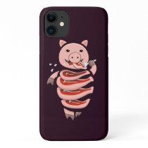 Funny Pig Eating Pork Steaks Creepy Weird iPhone 11 Case