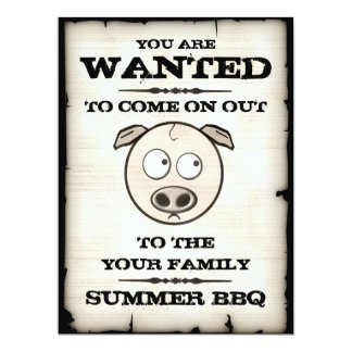 Funny Pig Family BBQ Invitations