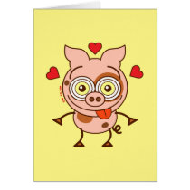 Funny pig feeling madly in love card
