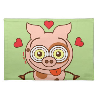 Funny pig feeling madly in love cloth placemat