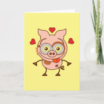Funny pig feeling madly in love holiday card
