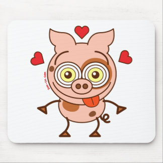 Funny pig feeling madly in love mouse pad