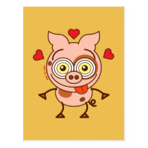 Funny pig feeling madly in love postcard