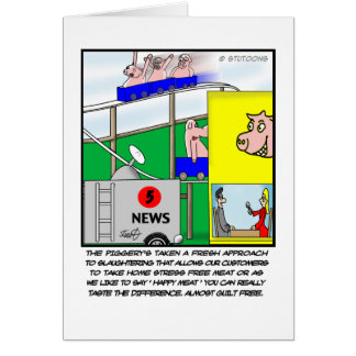 Funny Pig Greeting Card - Happy Meat
