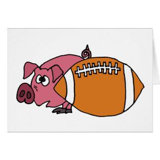 Funny Pig Hiding Behind Pigskin Greeting Card