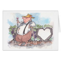 Funny pig holding wine glass with heart vine card