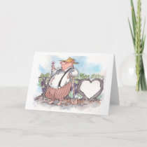 Funny pig holding wine glass with heart vine holiday card