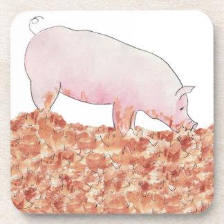 Funny pig in mud novelty art design coasters