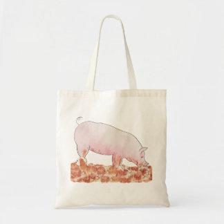 Funny pig in mud novelty art tote bag