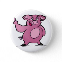 Funny Pig Middle Finger Button