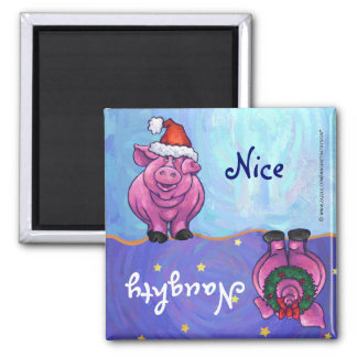 Funny Pig Naughty Nice Holiday Magnet