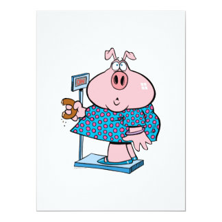 funny pig on a diet eating a donut on a scale 6.5x8.75 paper invitation card