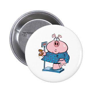 funny pig on a diet eating a donut on a scale pinback buttons