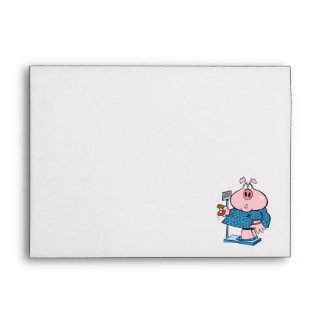 funny pig on a diet eating a donut on a scale envelopes