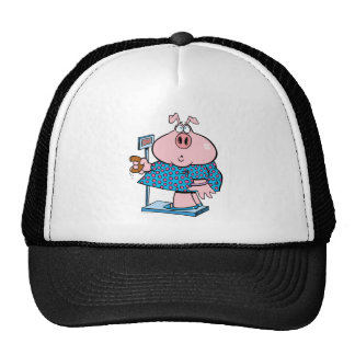 funny pig on a diet eating a donut on a scale trucker hat