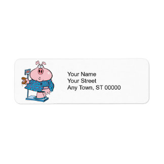 funny pig on a diet eating a donut on a scale label