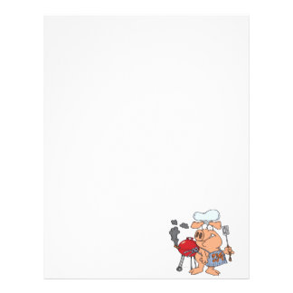 funny pig out BBQ barbecue piggy pig Letterhead