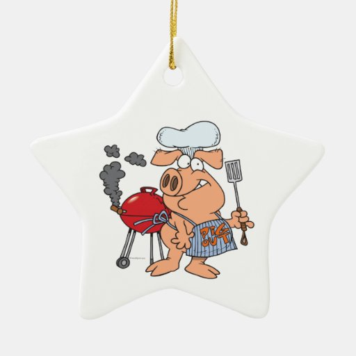 funny pig out BBQ barbecue piggy pig Christmas Tree Ornaments