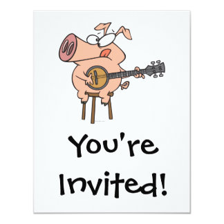 funny pig playing a banjo cartoon character 4.25x5.5 paper invitation card