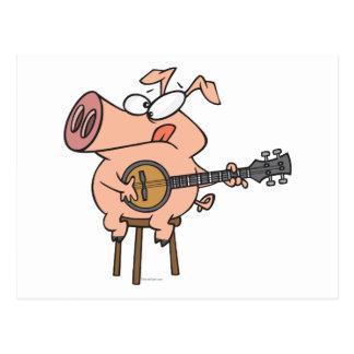 funny pig playing a banjo cartoon character postcard