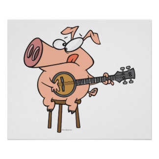 funny pig playing a banjo cartoon character poster