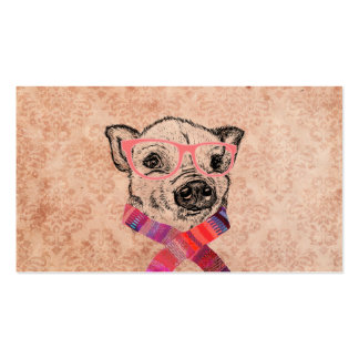 Funny Pig Sketch Pink Hipster Glasses on Damask Double-Sided Standard Business Cards (Pack Of 100)