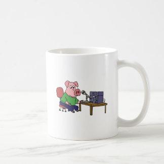 Funny Pig Using Ham Radio Coffee Mug