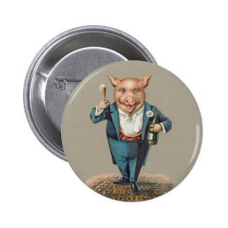 Funny Pig with Champagne = Cute Animal Holiday Pinback Buttons