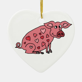 Funny Pig with Hearts Design Double-Sided Heart Ceramic Christmas Ornament