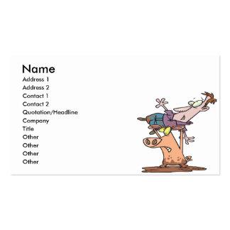 funny pig wrestler cartoon business card template