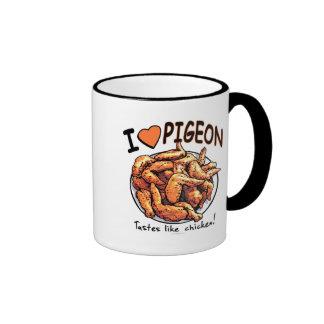 Funny Pigeon Wing Plate by Mudge Studios Ringer Coffee Mug